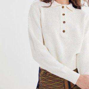 UO Ricky Waffle Knit Long Sleeve Polo Shirt